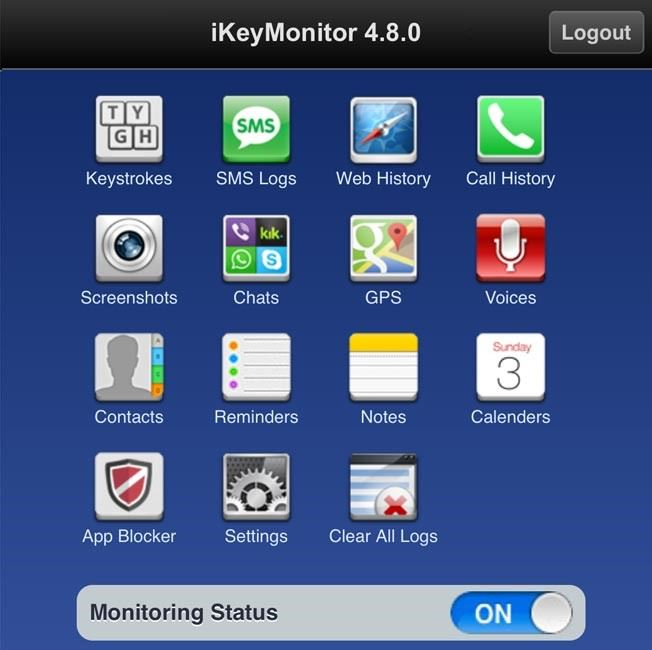 Меню приложения iKeyMonitor